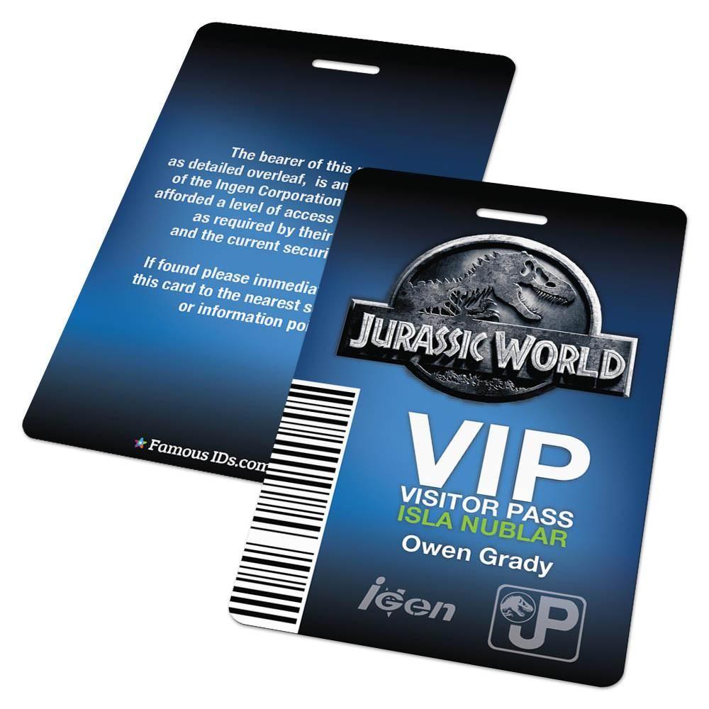 Jurassic World Vip Visitor Pass Badge Jurassic World Jurassic Park Birthday Jurassic