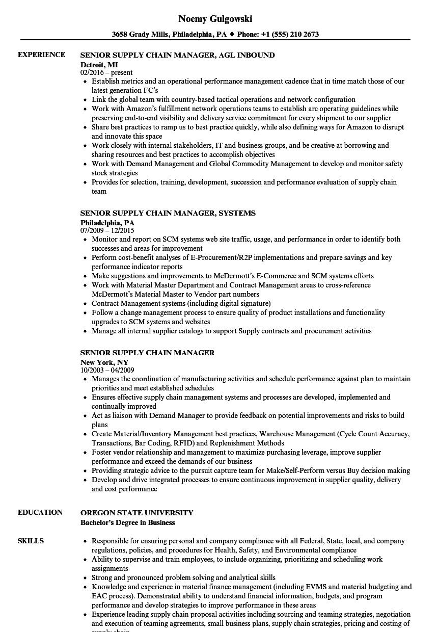 Resume Manager Procurement Supply Chain Inventory Materials Resume Sample Resume Supply Management