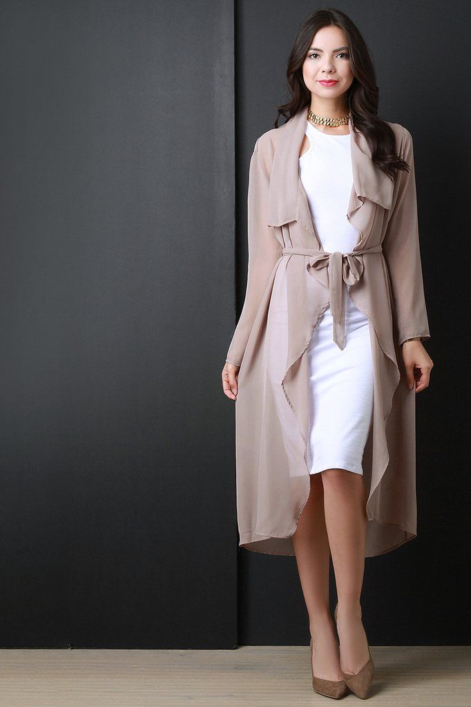 Belted Chiffon Draped Longline Cardigan Jacket – Style Lavish ...