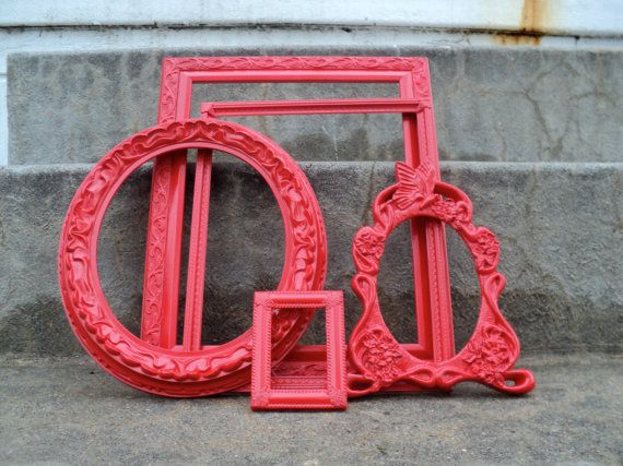 Red Picture Frame Set Ornate