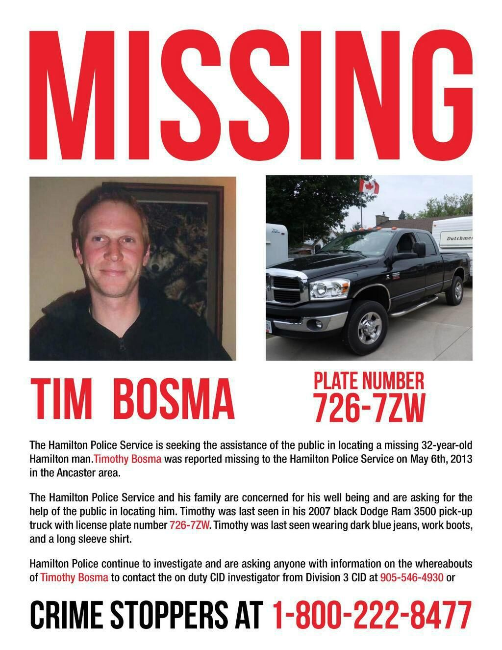 Dellen Millard charged with murder of missing woman father – Missing Person Poster Template