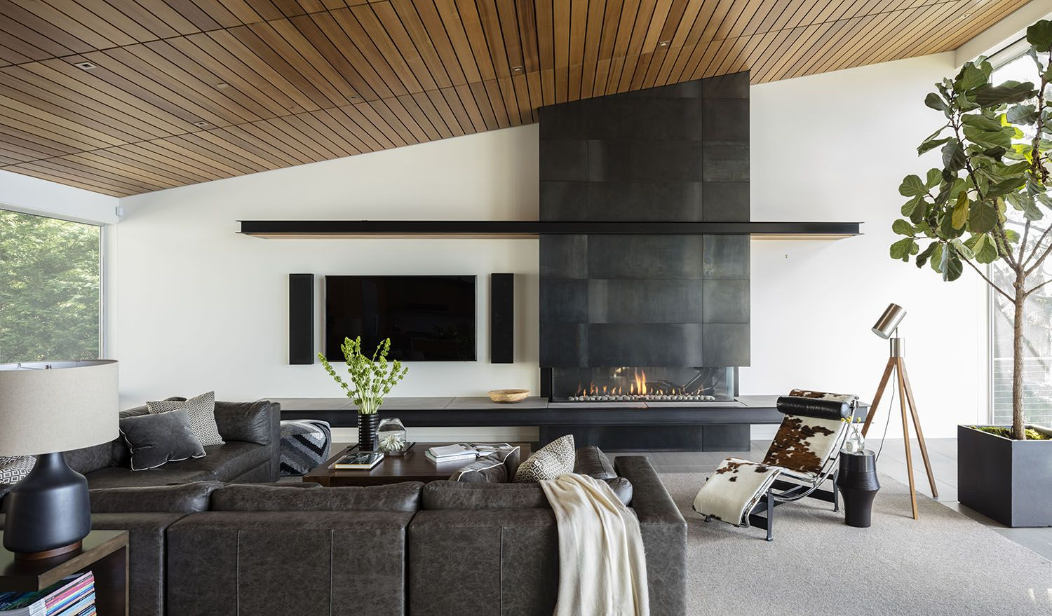 Steel Clad Fireplace Floating Bench Seattle Interior Design