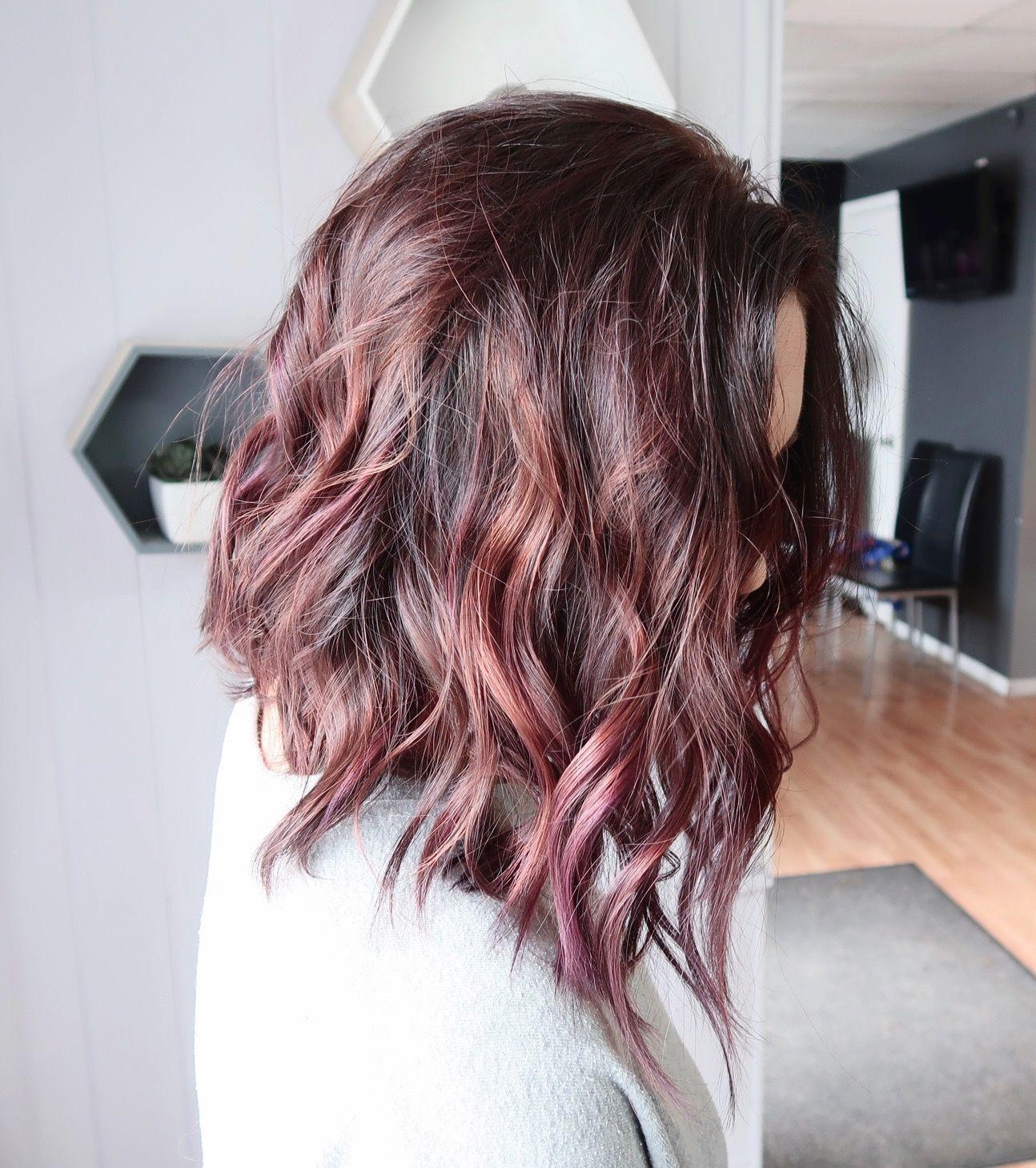 Dusty Plum Brunette Hair Color Subtle Rose And Mauve Balayage On A Textured Aline Lob Haircut