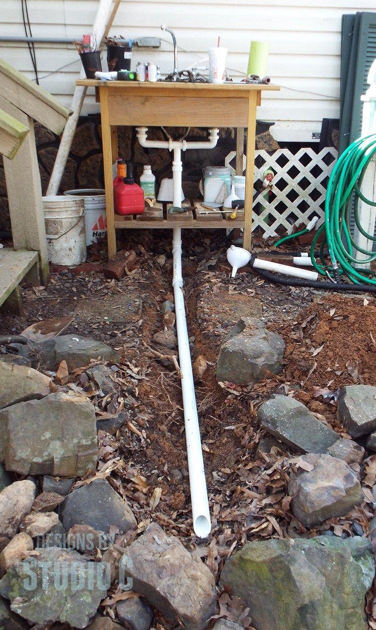 Build An Outdoor Sink Part Three Installing The Drain Outdoor Kitchen Sink Outdoor Sinks Outdoor Garden Sink