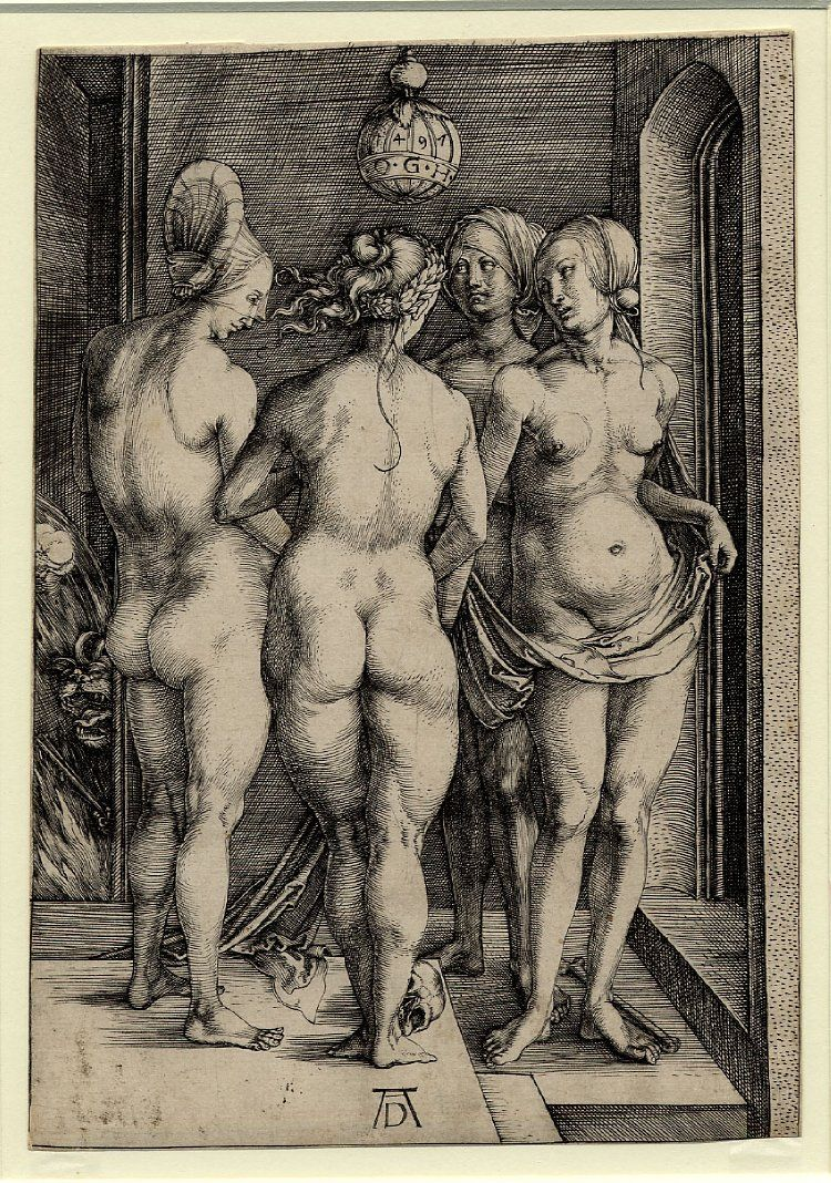 nude witches 1497 Albrecht Durer - The Four Witches; a group of four nude women standing  underneath