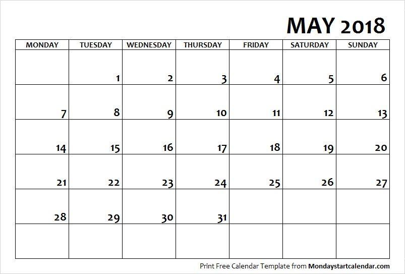 Blank Printable 2018 May Calendar School Holiday Calendar