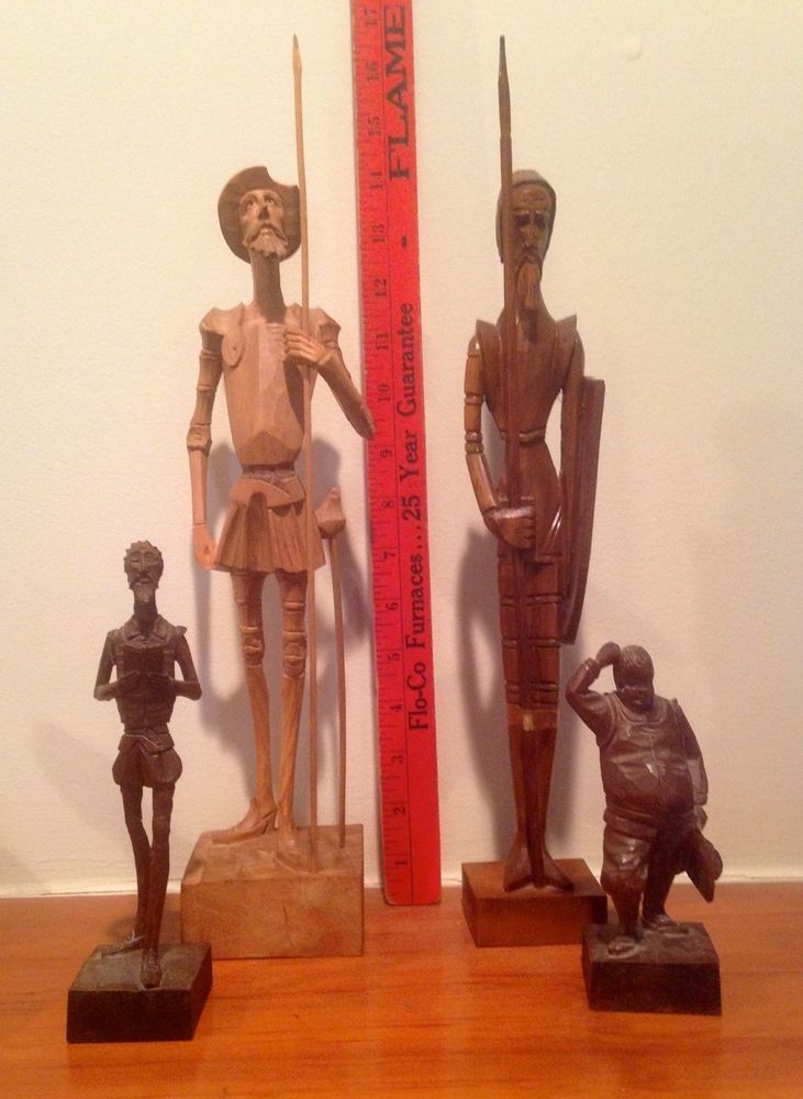 VINTAGE LOT OF 4 WOODEN SCULPTURES SPAIN COLLECT  DON QUIXOTE OURO ARTESANIA