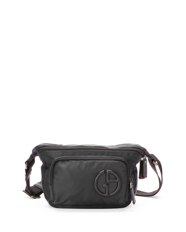 5ab0d51208f9 Nylon Belt Bag with Leather Trim - Giorgio Armani