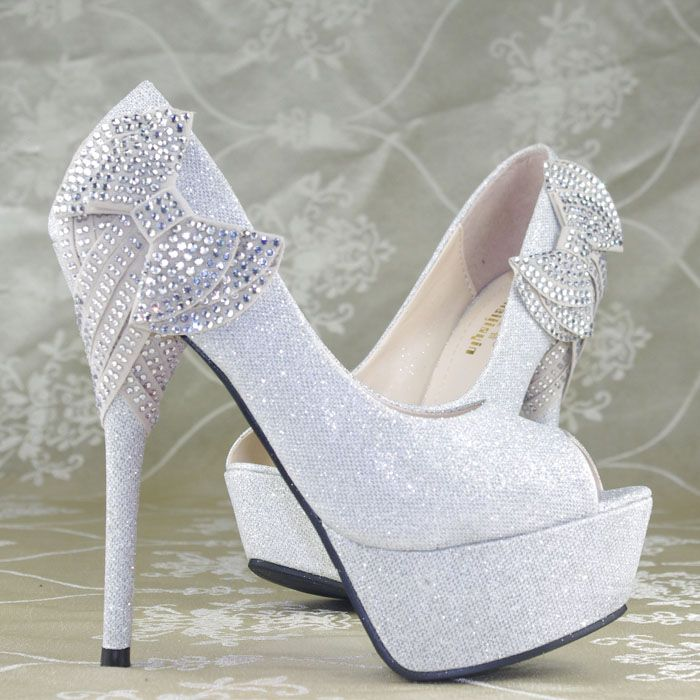 Shimmer Silver Crystal Bows Platform High Heels Princess Wedding ...