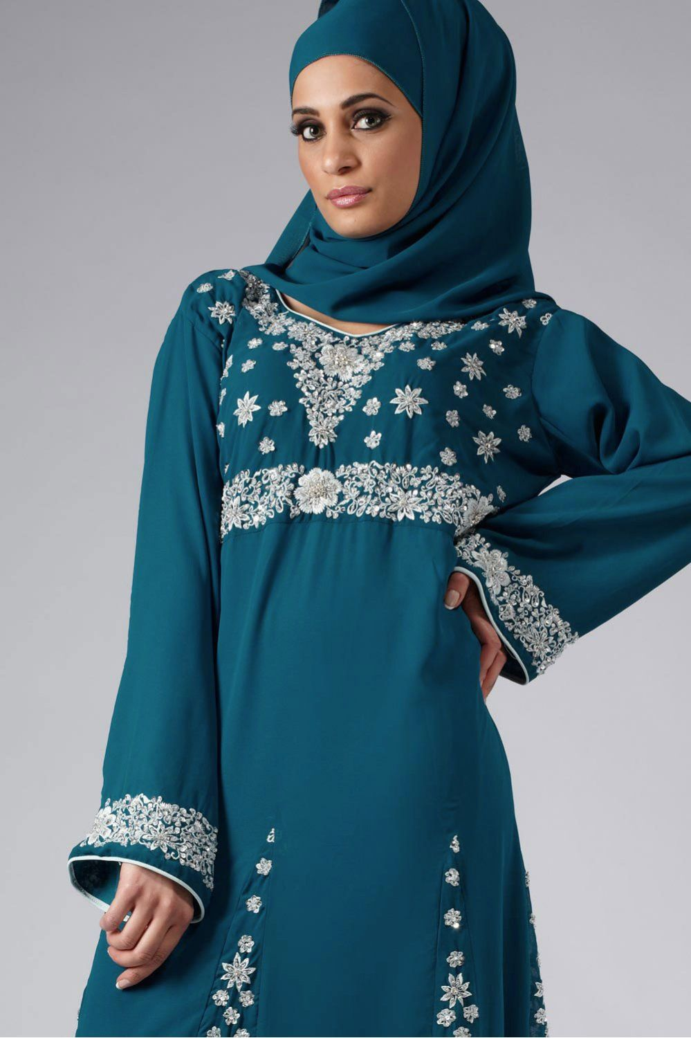 Lace umbrella abaya  blue and silver jilbab  AbayasHijab  Pinterest  Abayas Hijab