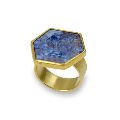 Petra Class at Patina Gallery. Ring,Sapphire Slice, 22K,18k