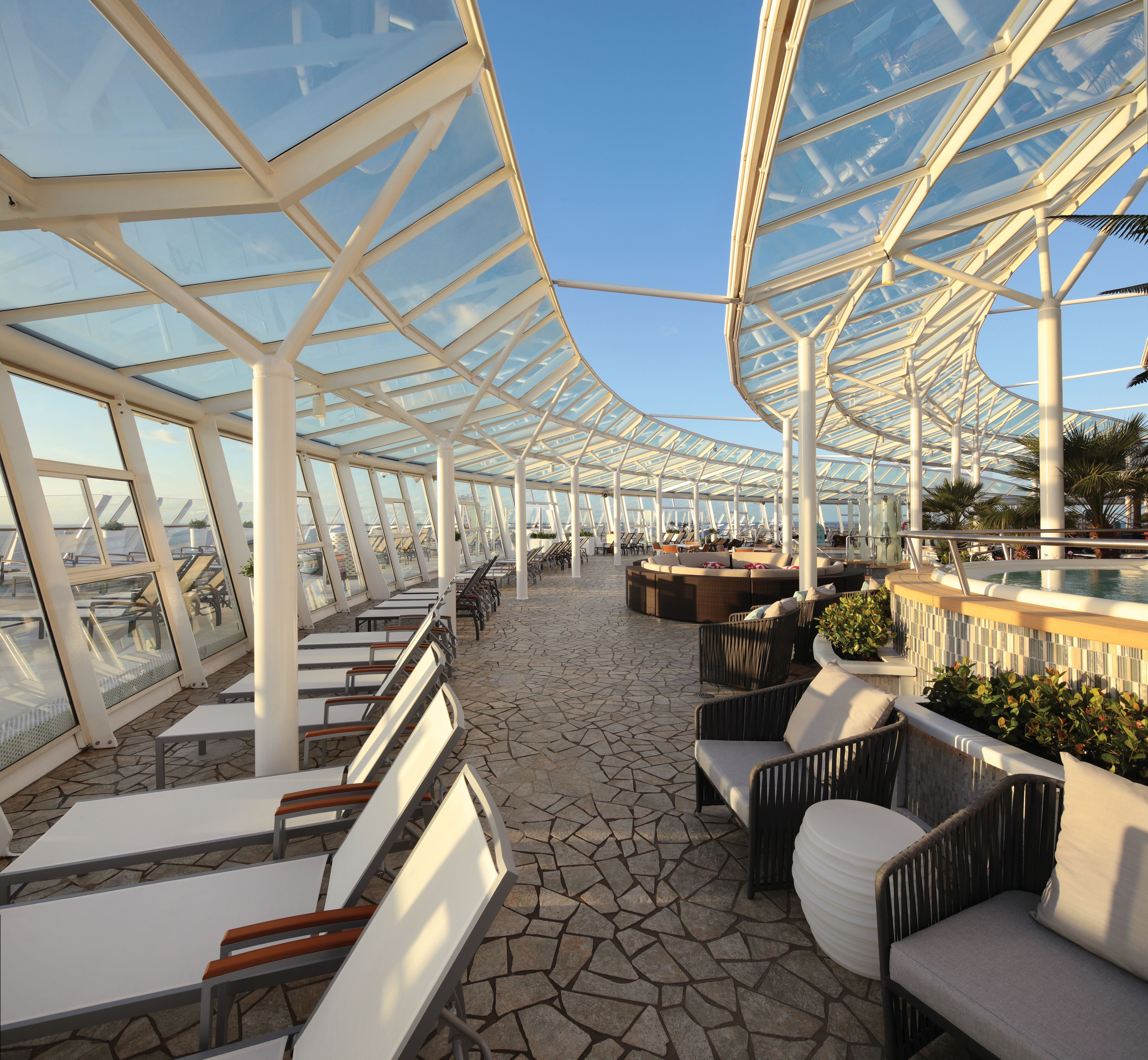The Solarium, located on deck 15 forward of Royal Caribbean Oasis Class ships, is an adult only area perfect to relax. Lounge in one of the many chairs, take a dip in one of the pools, or simply enjoy the views! Royal Caribbean cruise vacations offer something for everyone! Let us help find the right cruise for your family! 📷: #RoyalCaribbean