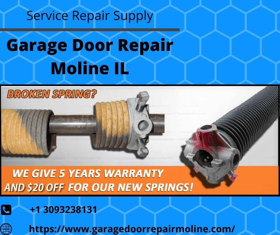 Broken Spring Replacement In Moline In 2020 Door Repair Garage Door Repair Garage Doors