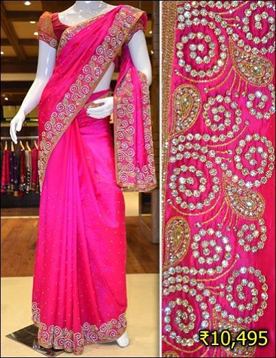 dff892d9ac43f9 Be a star wearing this raw silk saree with heavy embroidery and stone work.