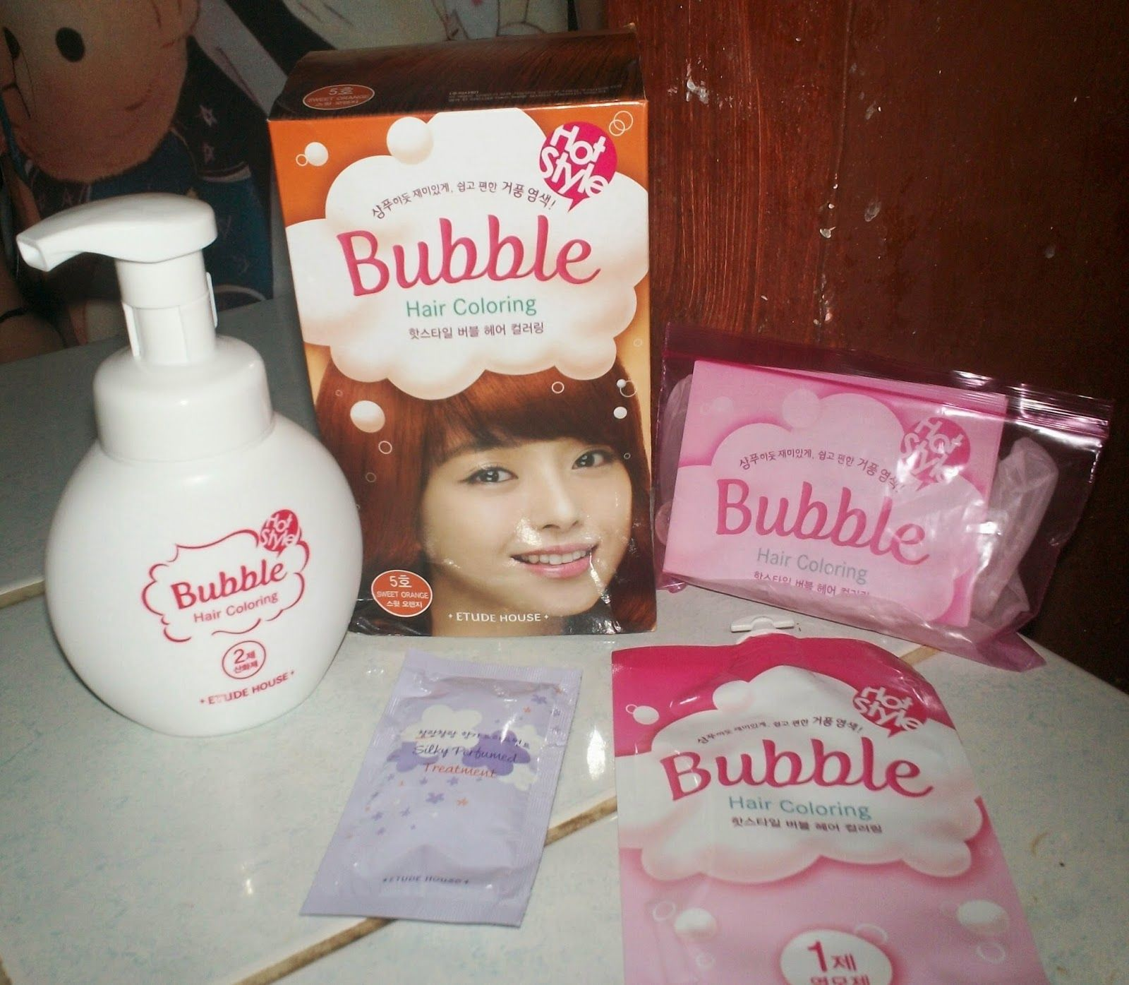 Sweet Asian Style♥: ETUDE HOUSE Hot Style Bubble Hair Coloring #5 Sweet Orange Review~