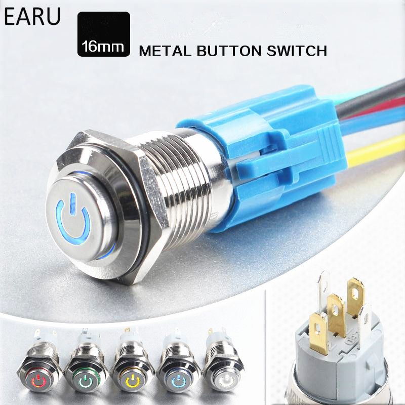 16mm Waterproof Latching Stainless Steel Metal Power Horn Push Button Switch Led Car Auto Engine Pc Power Start Starter 12 Small Computer Light Accessories Led