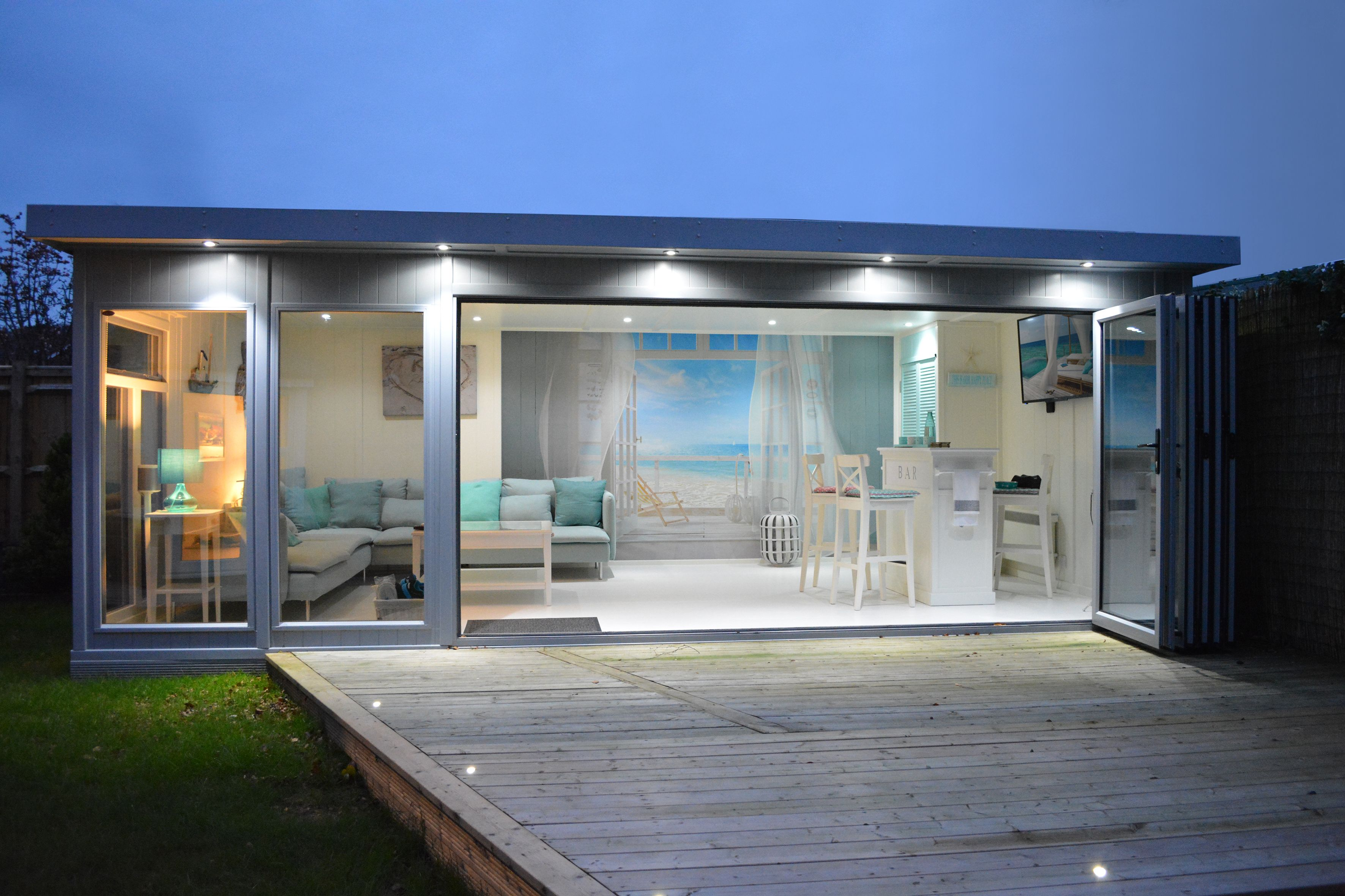 Contemporary Garden Building From Executive Collection With Bi Folding Doors Painted In Grey Contemporary Garden Rooms Summer House Garden Garden Room