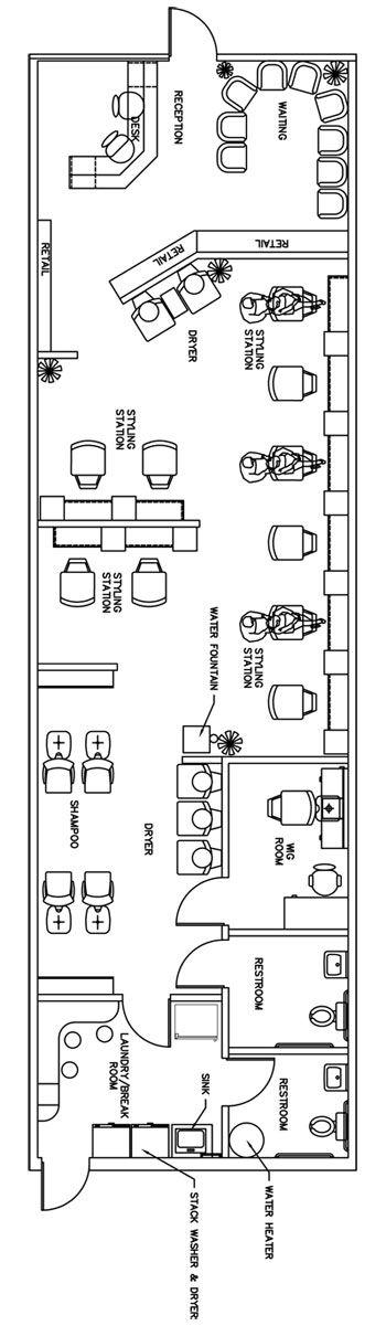 Beauty Salon Floor Plan Design Layout - 1435 Square Foot