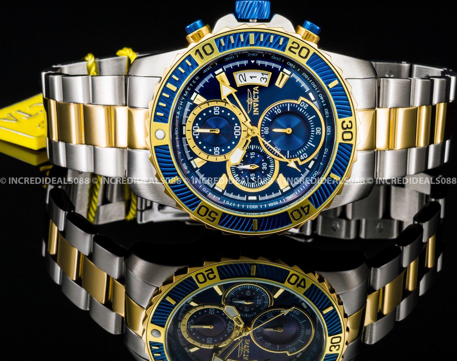 421385836e79 Invicta Mens Pro Diver Chronograph Blue Dial Silver   Gold Two Tone Watch  22415 691202357148