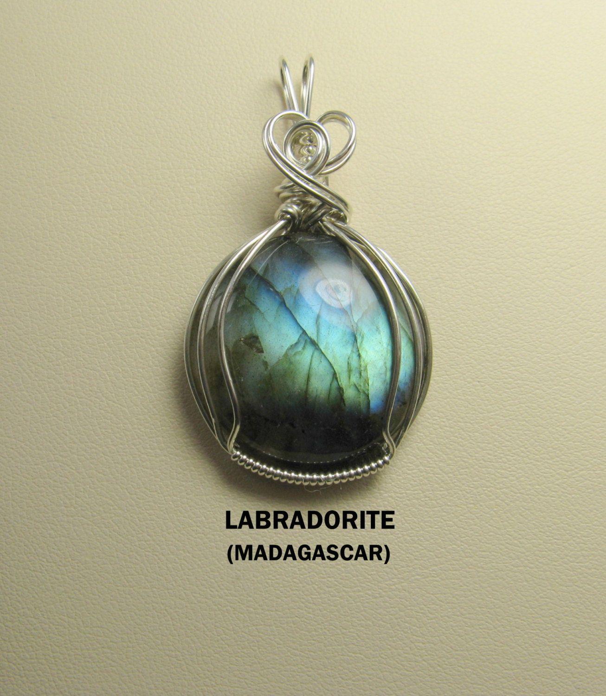 Amazing Labradorite Gemstone Cabochon Wire Wrapped Pendant