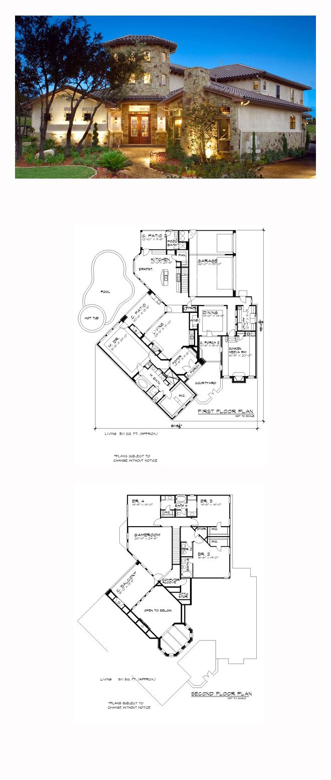 Tuscan Style House Plan 74514 With 4 Bed 6 Bath 3 Car Garage Mediterranean House Plans Mediterranean Homes Small Dream Homes