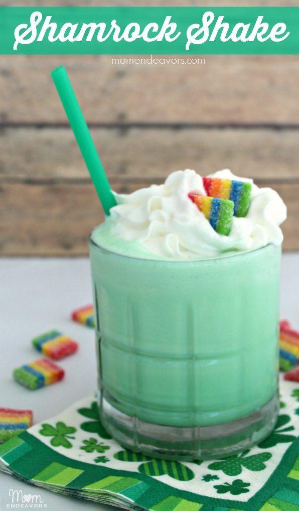 St. Patrick's Day Fun Food - Homemade Shamrock Shake Recipe. Love the rainbows added too!