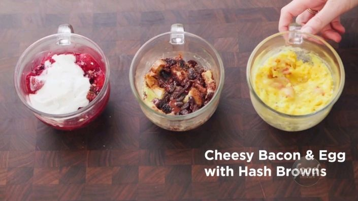 watch microwave cheesy bacon and egg mugs food network uk