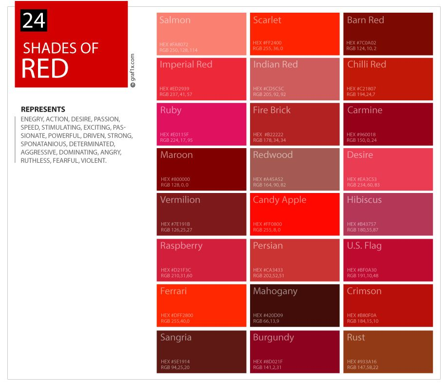 24 Shades Of Red Color Palette Graf1x Com Red Colour Palette