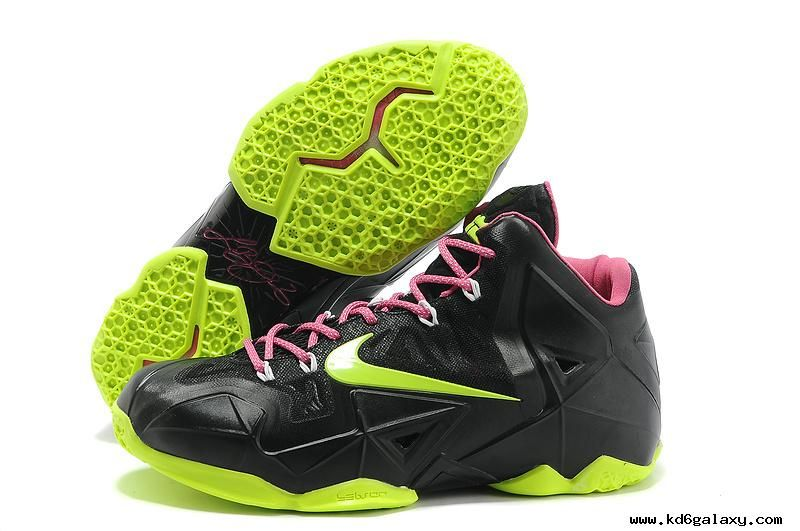 Authentic Lebron James 11 Black Green Pink 616175-602