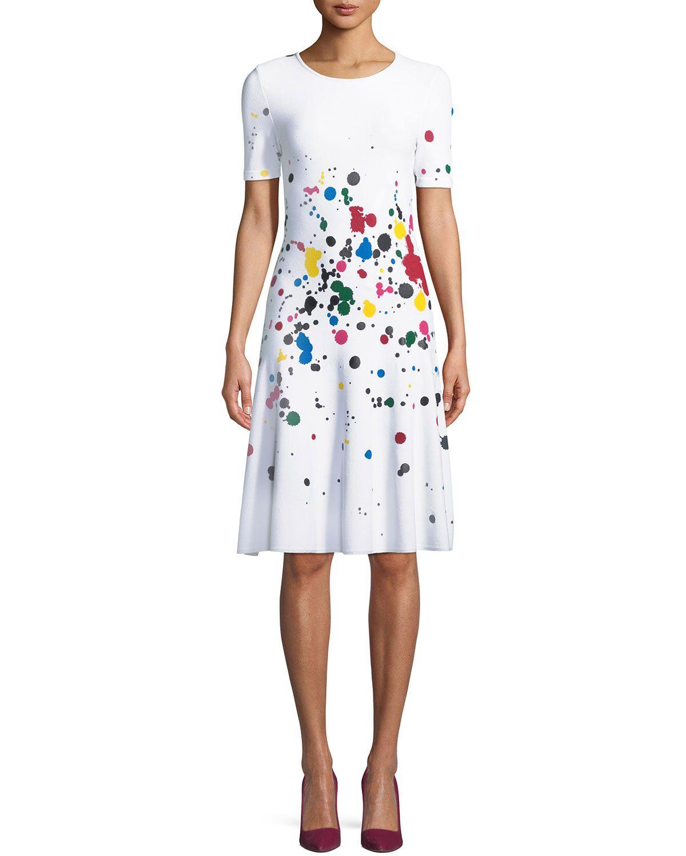 2cdf798aa4 Oscar de la Renta Short-Sleeve Splatter Paint Dress