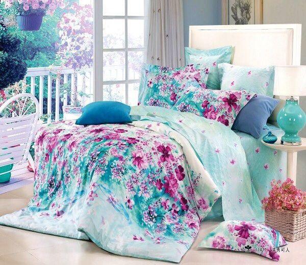 Raspberry Flowers On Blue Bed Set Duvet Bedding Girls Comforter