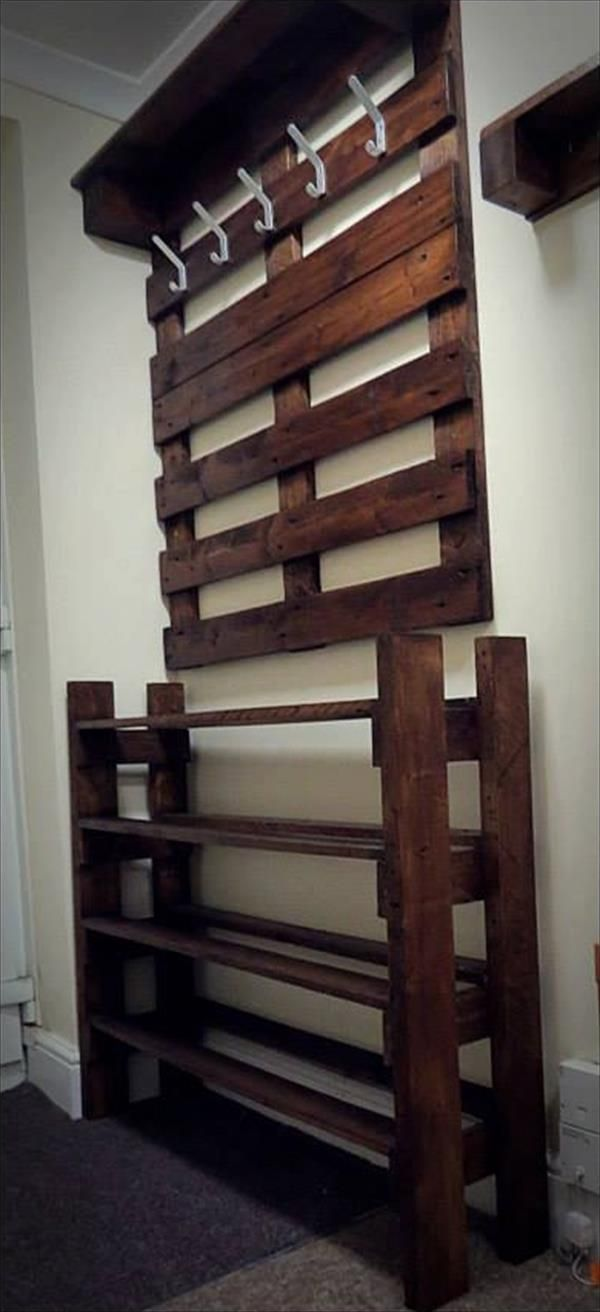 upcycled pallet hallway coat rack and shoes rack maybe not have the coat rack go so low and the shoe rack so high