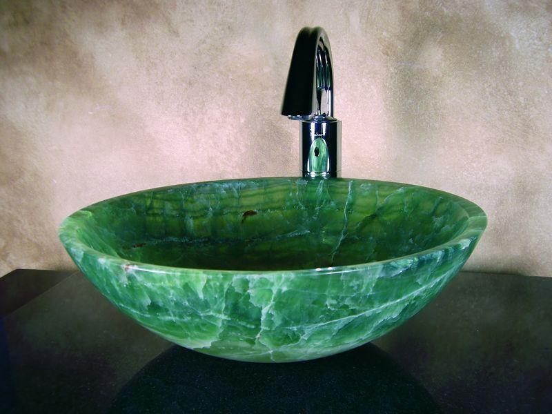 Round Green Onyx Vessel Sink