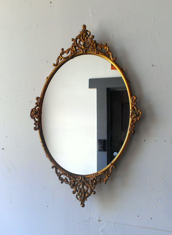 European Refined Resin Oval Mirror Antique Frame Luxury