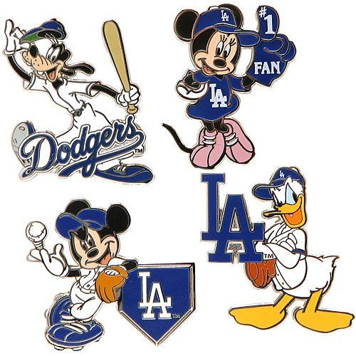 Los Angeles Dodgers Disney 4 Piece Pin Set By Aminco