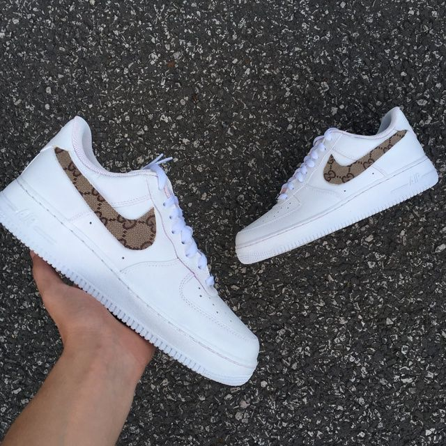 Nike AF1 White Gucci Tick in 2020 Nike air shoes