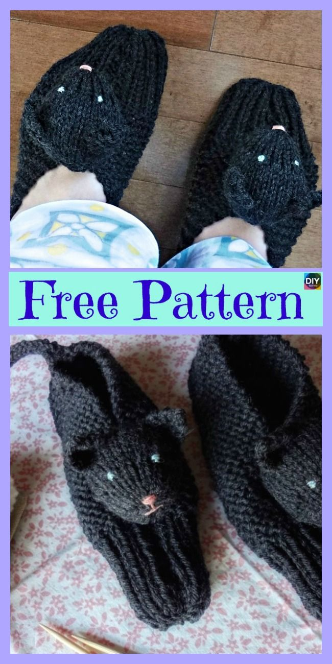 Adorable Knit Kitty Slippers - Free Patterns
