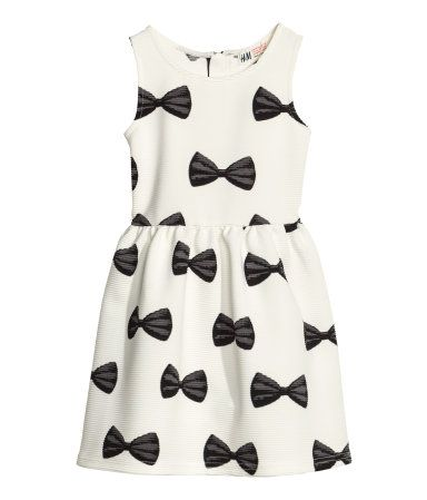 d1107f546ce Patterned Black   White Bow Dress for Girls