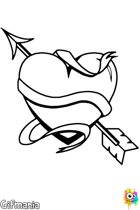 Heart Arrow And Scroll Coloring Page Dibujos De Corazones Dibujos De Amor Dibujos De San Valentin