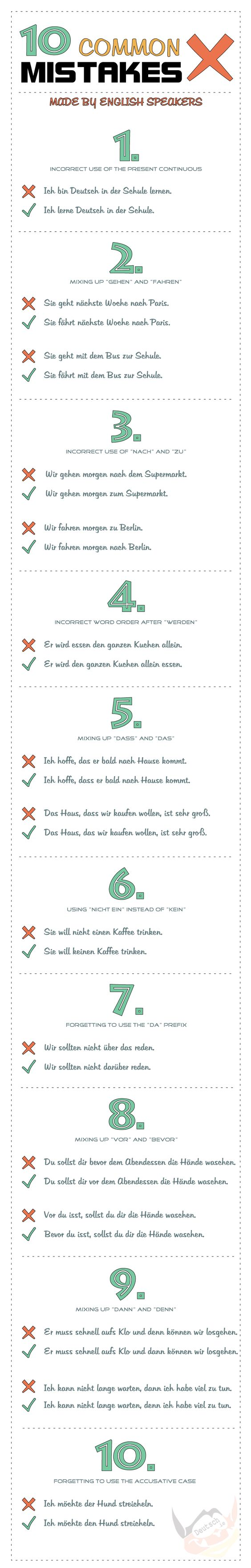 Common German mistakes made by speakers of English. Check