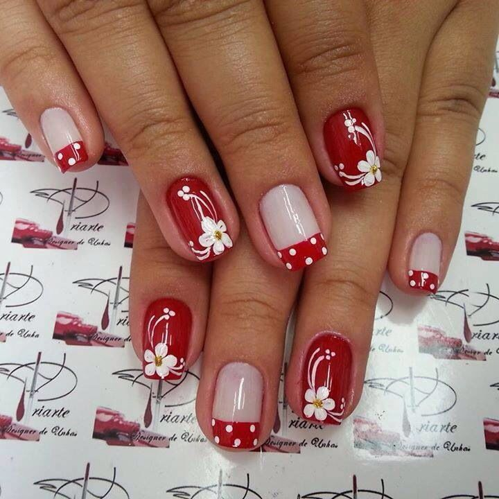 Rojo Y Blanco Manicura De Uñas Uñas Con Flores Y Uñas De Gel