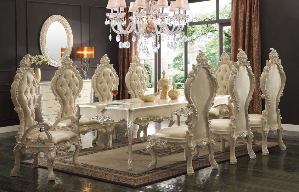 7 Pc Victorian II Collection Old World Style Dining Table Set With Carved  Accents And Tufted
