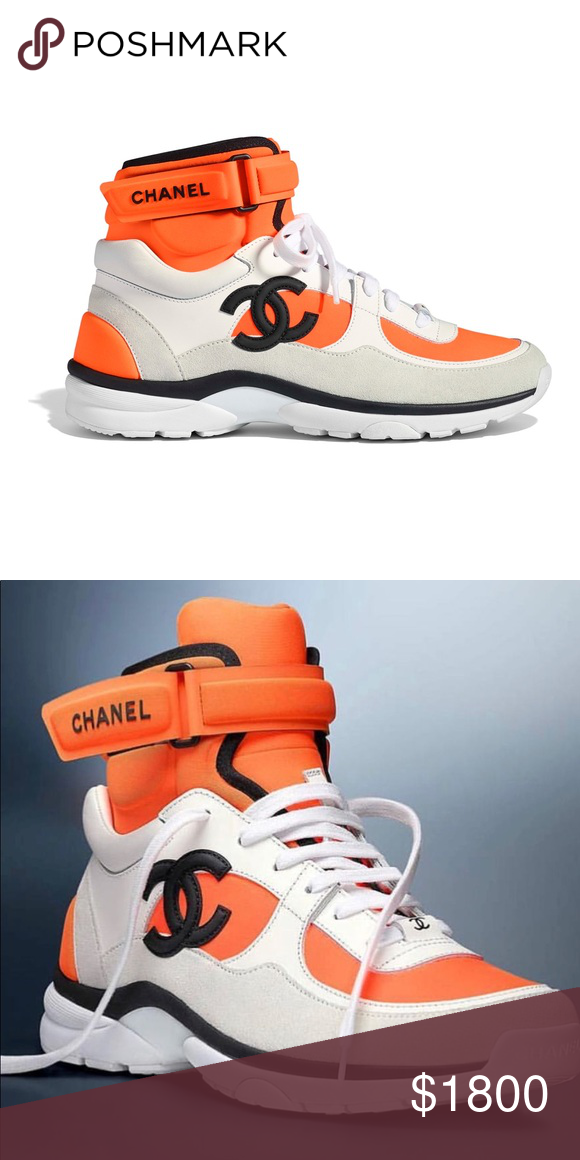 3bc8aa59ac3 Chanel White Orange CC Logo High Top Sneaker Fabric
