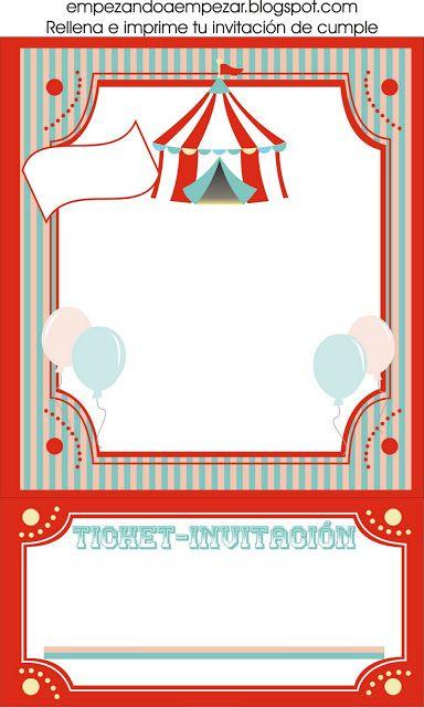 Invitación Fiesta Circo 3 Invitaciones Para Fiestas Circo En