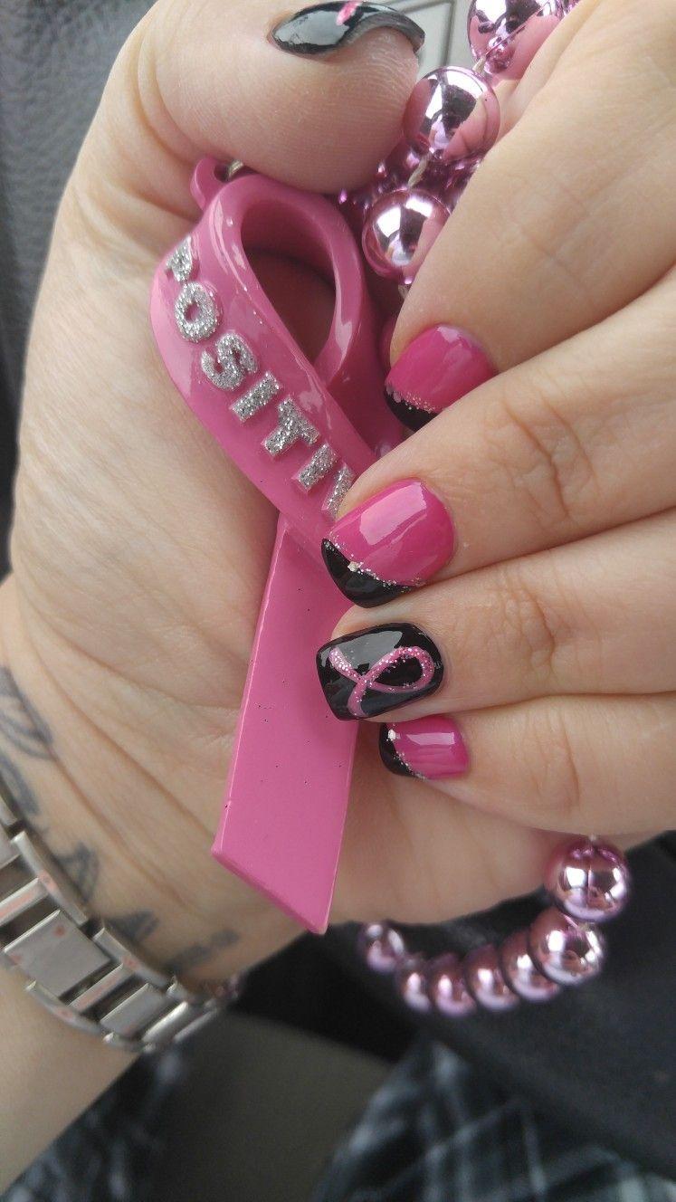 Brustkrebs-Bewusstseinsnagelentwurf   – nails