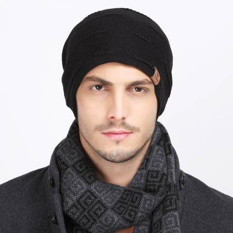 e7806cf77bb Autumn winter knit beanie hat for men warm casual sports knit hats ...