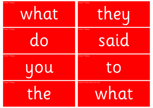 Write Inc. Orange Red, Green and Power Word Cards