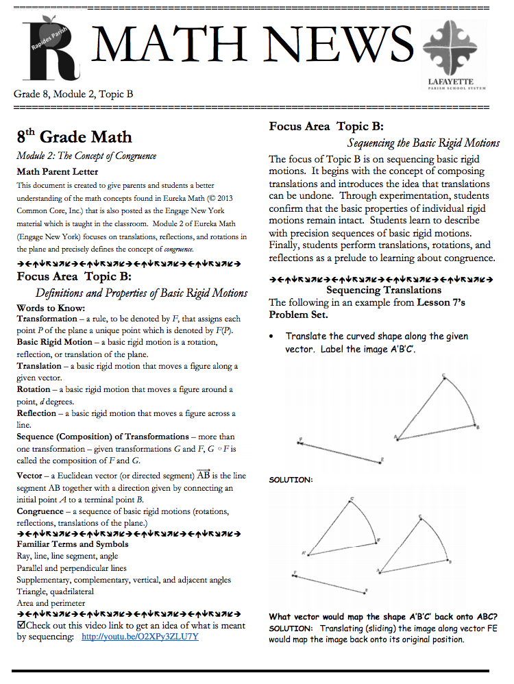 Grade 8, Module 2, Topic B, parent newsletter developed by