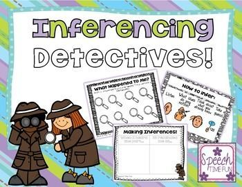 Inferencing Detectives: Visual aids, graphic organizers, sorting activities, task cards, review worksheets and more!