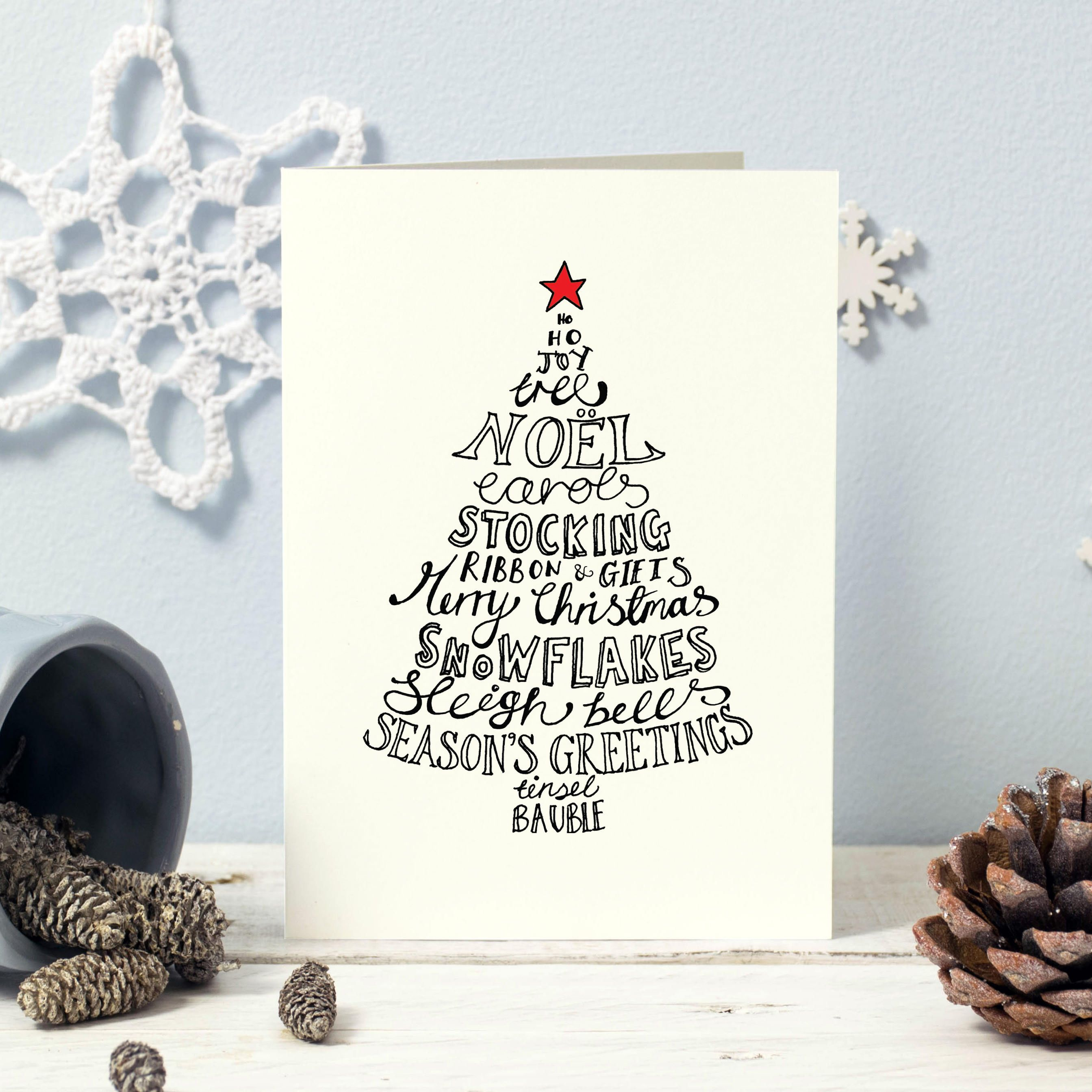 Traditional Christmas cards | Christmas card pack | Typographic ...